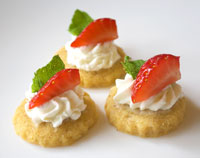 Canape Catering - Walnut and Gruyere Biscuit with Goats Cheese & Strawberries