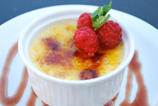 creme brulee with raspberries