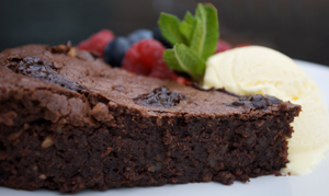 chocolate brownies with chocolate sauce and ice-cream