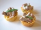 Shredded Fillet of Angus Beef with Tarragon Mayonnaise in a Filo Cup